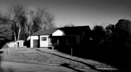 B/W House in Morning Light #9889 by KeithPurtell