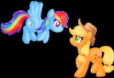 Day 1: Rainbow Dash x Applejack by KimmyArtMLP