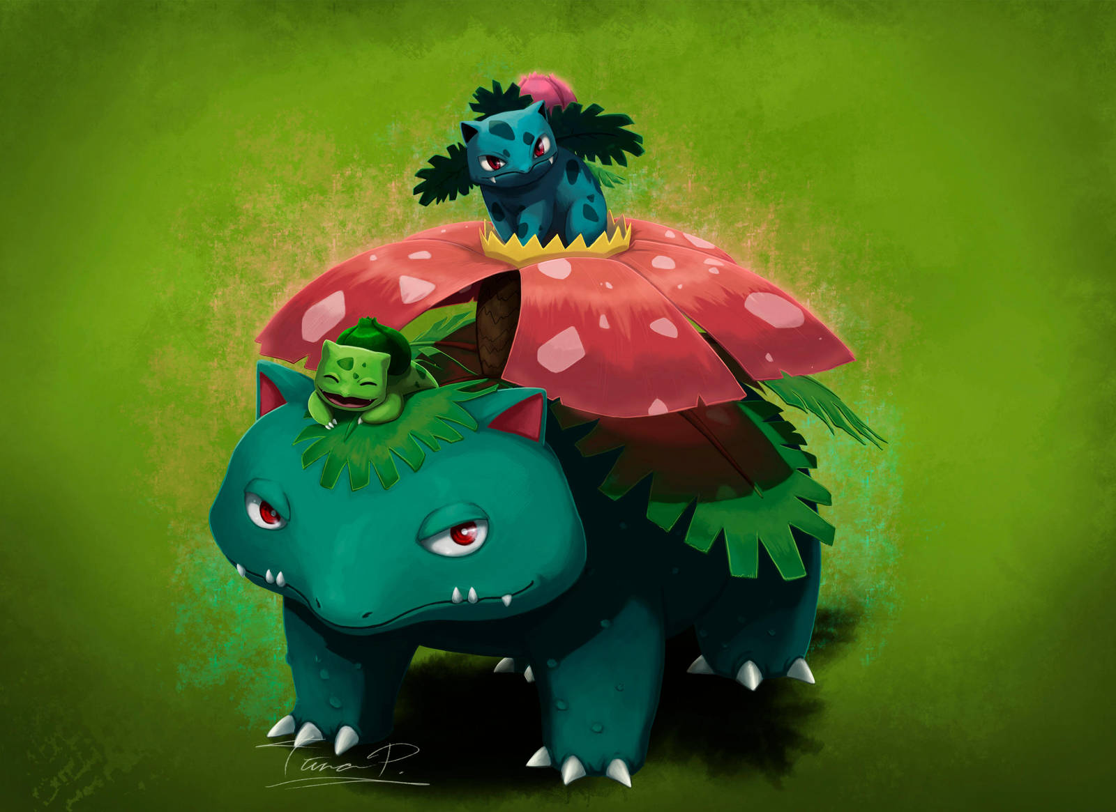 Bulbasaur family by Tipetsu