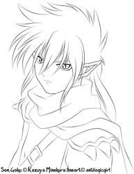 Son Goku lineart by antilogicgirl