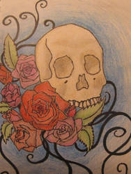 Flowers and skull by Larkynn