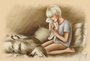 Scorpius with a ferret by vongue
