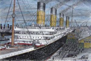 Titanic at Southampton by Hudizzle