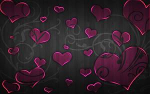Pink Hearts Florish Wood by RunningXx
