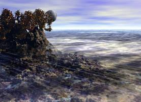 Alien planet with moon+trees by dariusberne
