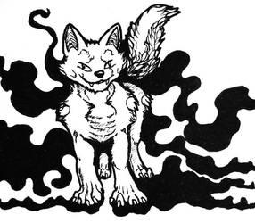 Fluffy Shadow Fox by pointytilly