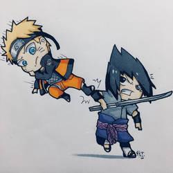 Sasuke and Naruto  by junebuart