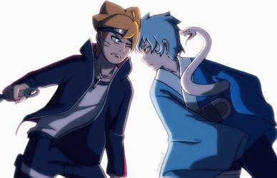 Boruto versus Mitsuki  by junebuart