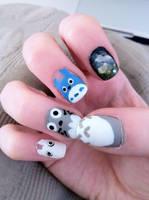 Totoro Nails #1 by lulutetium
