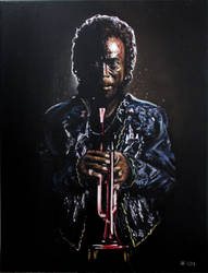 'Dark Magus', Miles Davis, 18x24 oil on canvas by McJade