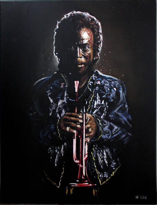 'Dark Magus', Miles Davis, 18x24 oil on canvas by McJade
