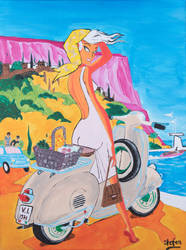 Acryl painting Vespa 60x80 Canvas by stefan2001