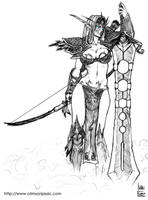 Night Elf Warrior Sketch by transfuse