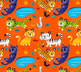Jungle Cat Pattern by MelDraws