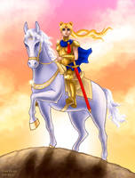 Sailor Moon Atop Her Steed by Kittensoft