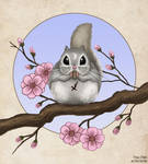Momo on a Sakura Branch by Kittensoft