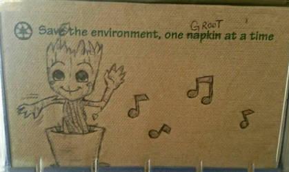 Baby Groot napkin art by immortalbutterflyTKP
