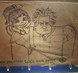 Wreck it Ralph napkin art by immortalbutterflyTKP