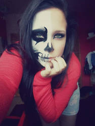 Zombie Skull Facepainting by ToxicAngell