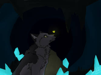 Wolf in cave by QweenMuffin