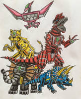 MMPR Zords Part 1 by BozzerKazooers