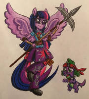 Equestria Ninjas: Twilight (PP) and Spike (BD) by BozzerKazooers