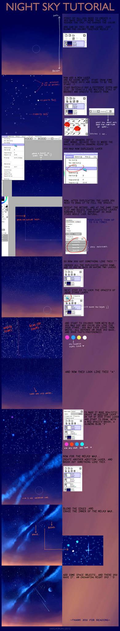 night sky tutorial . by megatruh