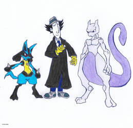 Lieutenant Gadget with Mewtwo and Lucario by 4M1R