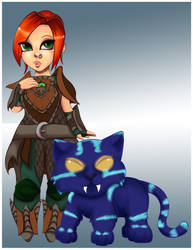 Kyra the hunter with kitty by magicpotion
