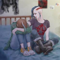Lela comforting Nada by cb350four
