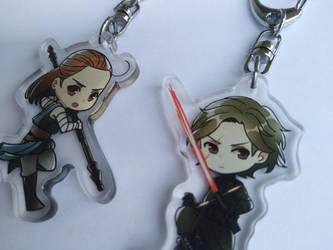 SALE: Rey and Kylo Ren (clear acrylic keychain) by Otromeru