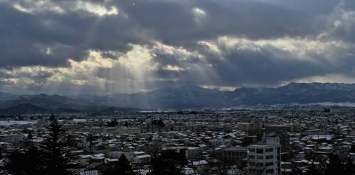Winter sunshine above northern city by Furuhashi335