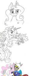 MLP Royal Family Sketch Dump by Celestial-Rainstorm