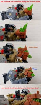 Me Grimlock am plant-sitter! by was-up-dog4