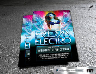 Friday Electro Party Flyer by feydesignGR