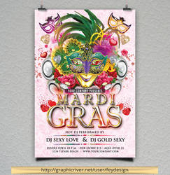 Mardi Gras Party Flyer by feydesignGR