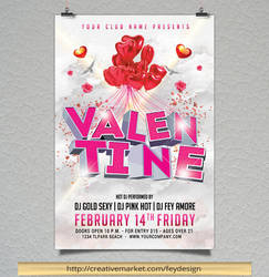 Valentine Day Party Flyer by feydesignGR