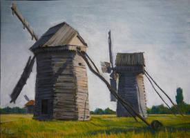 Old windmills in Ukraine by Elena-Palenko