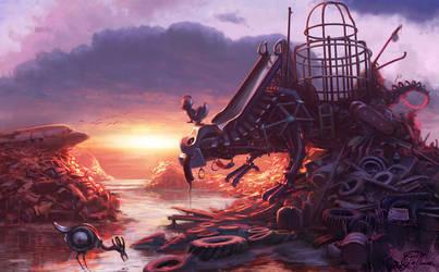 Swingsetasaur at Sunset by unavolpe