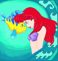 Ariel and Flounder by bumblebee0704
