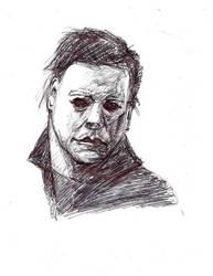 15 min. Pen sketch of Michael Myers by Gossamer1970