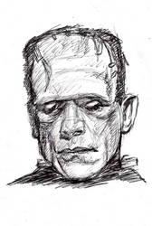 15 min. pen sketch of Frankenstein by Gossamer1970