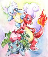 Watercolor Kanto Starters by Kuitsuku