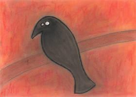 Black Bird on Branch in pastel by Mutany