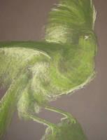 Valk in groen pastel by Mutany