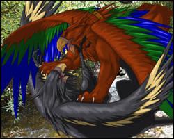 Gryphon Fight by soulshelter