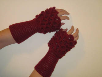 Blood Red Dragon Slaying Gauntlets by PamGabriel