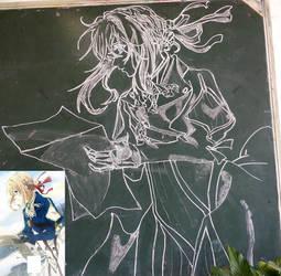Violet Evergarden drawn in blackboard by ShortageTraveler