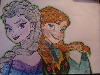 RE-UPLOAD Anna and Elsa by EmberCL