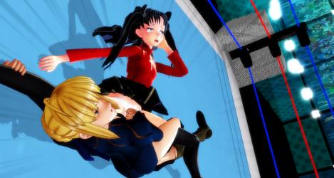 [MMDWRESTLING]Saber vs Rin Tohsaka (2) by tousato